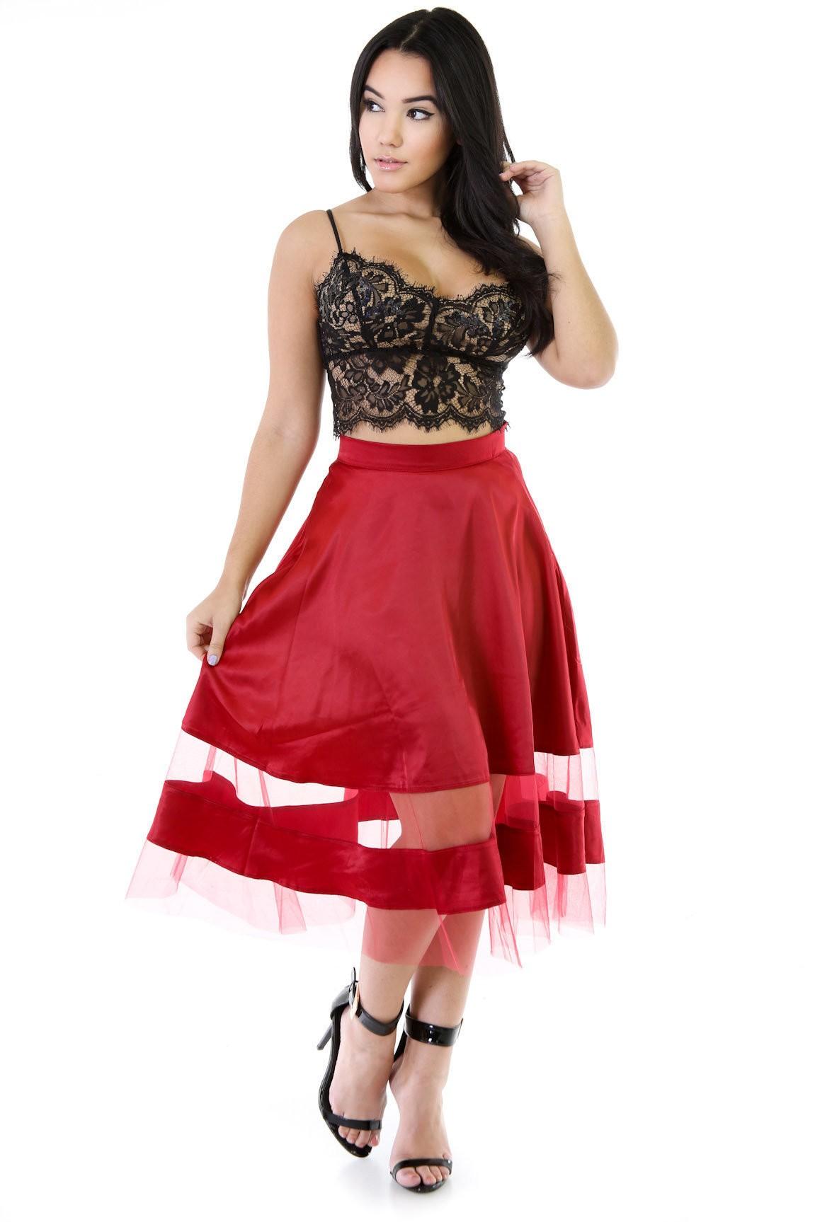 Sheer Panel Flare Skirt