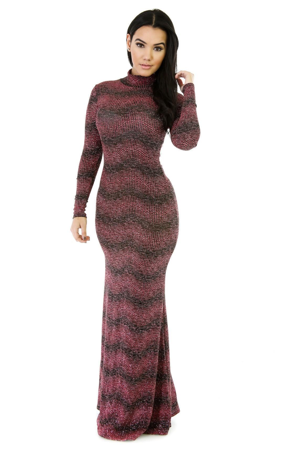 Metallic Glitter Maxi Dress