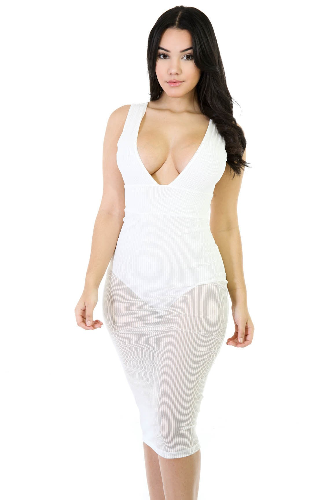 Midi See-Trough Bodysuit Dress
