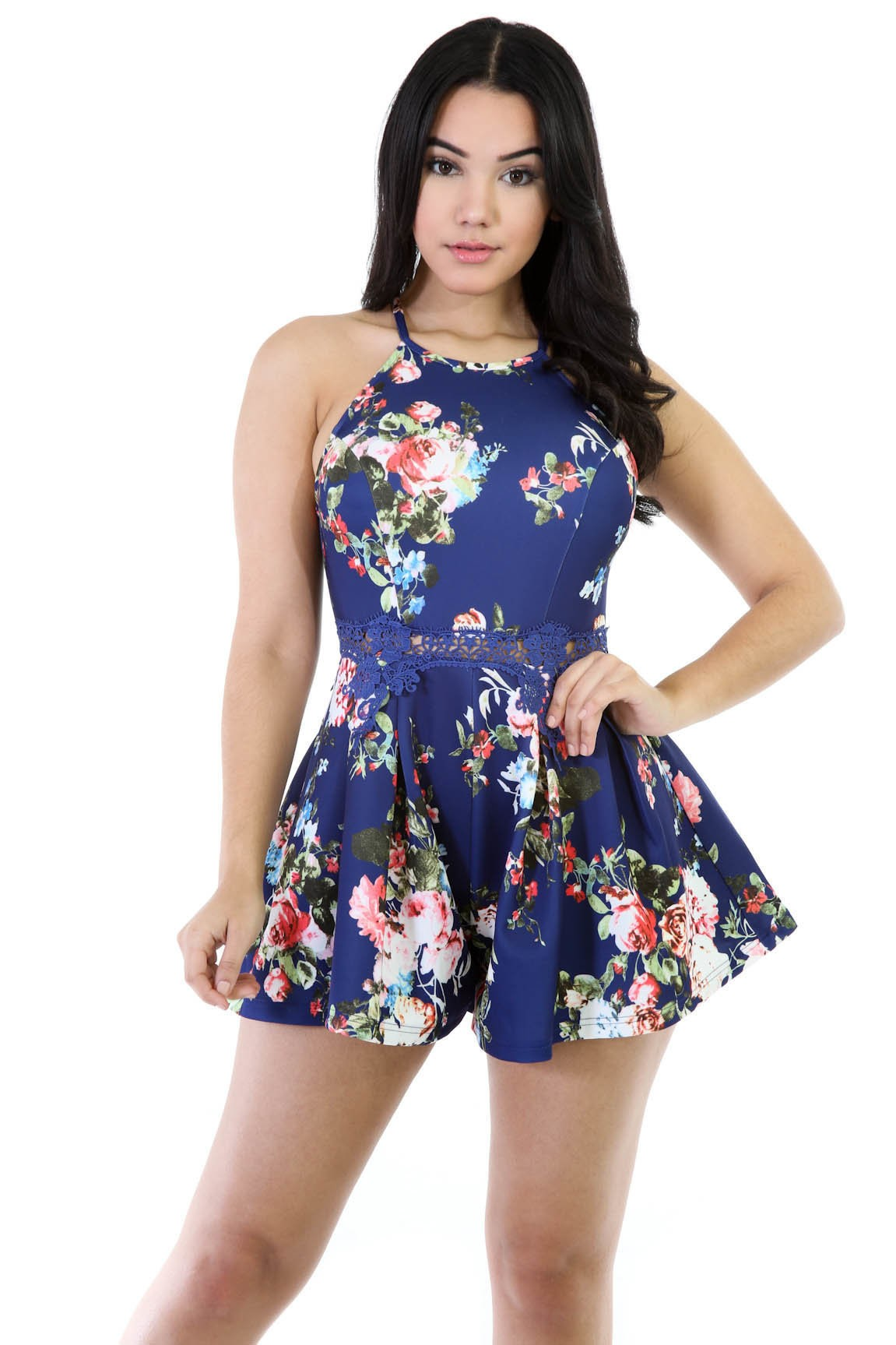 Watered Floral Romper