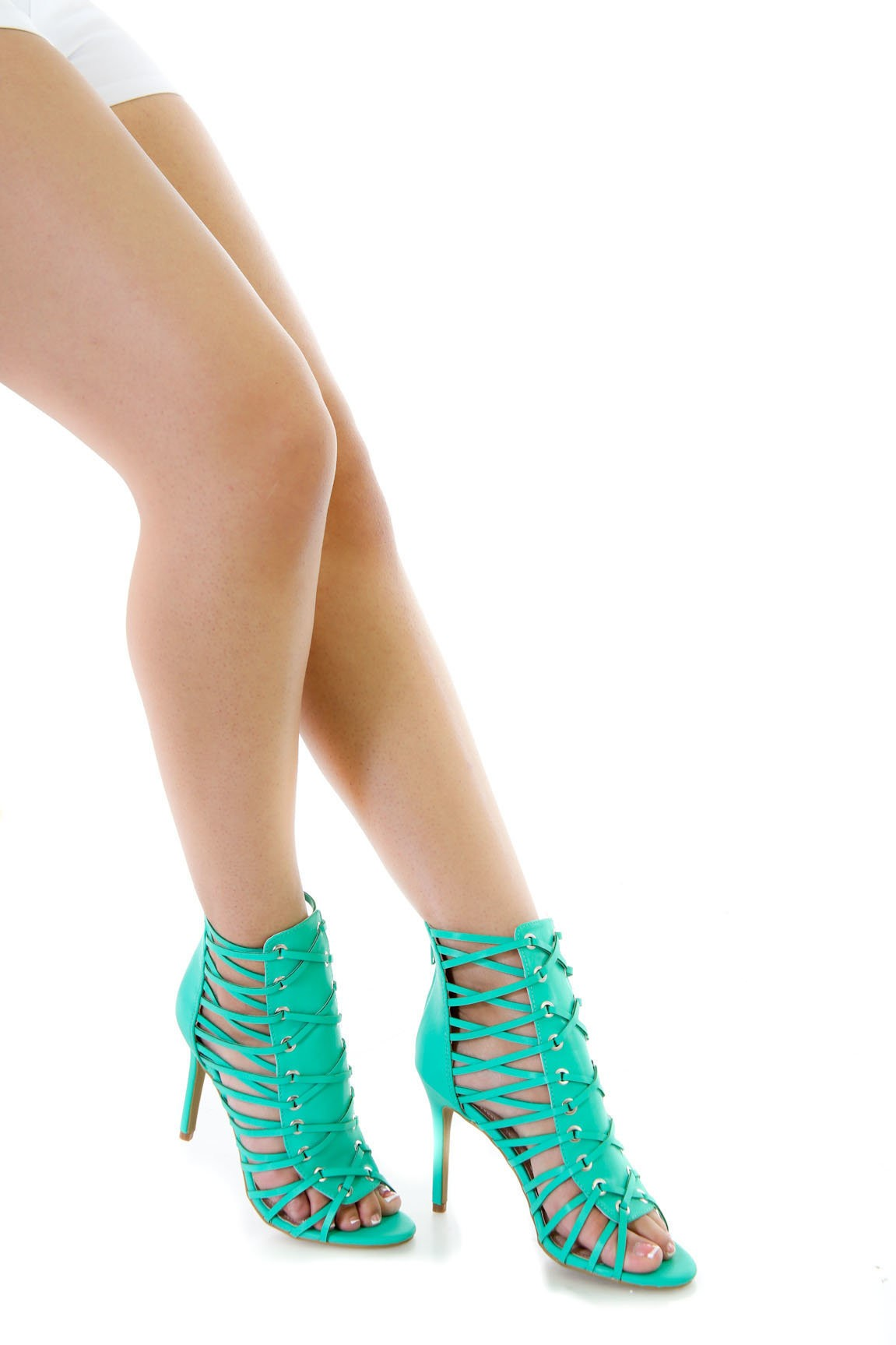 Faux Leather Peep Toe Heels