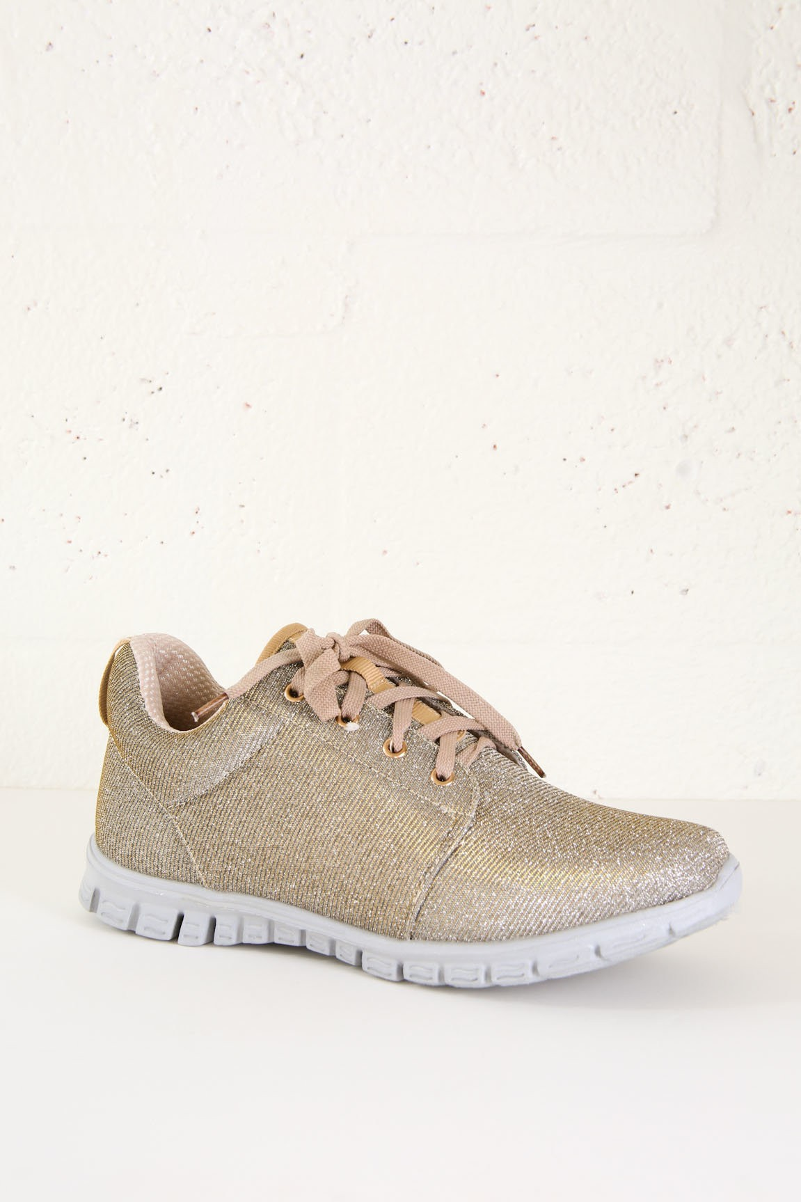 Gold Glitter Slip On Sneakers