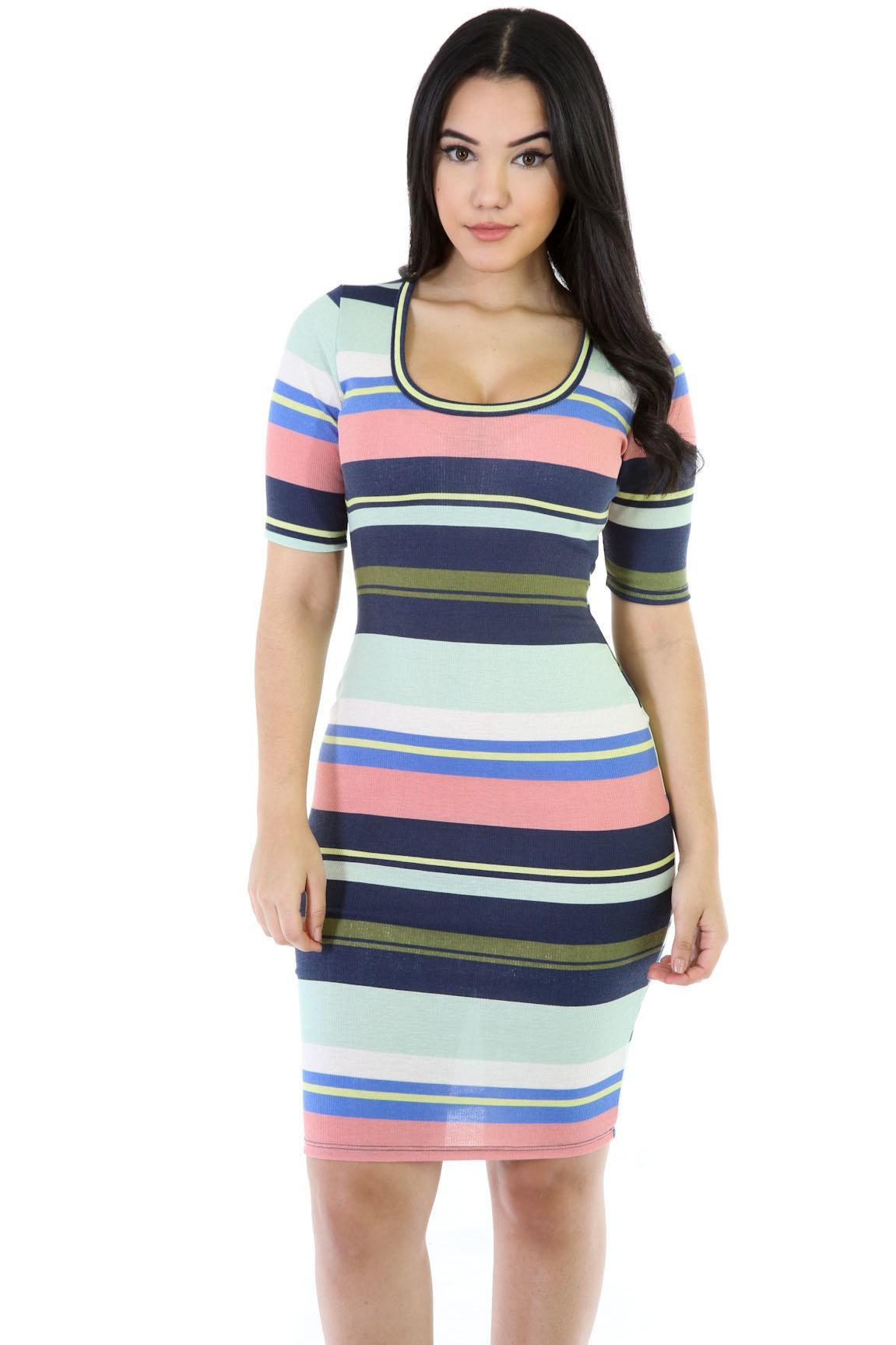 Strip It-Up Girl Midi Dress
