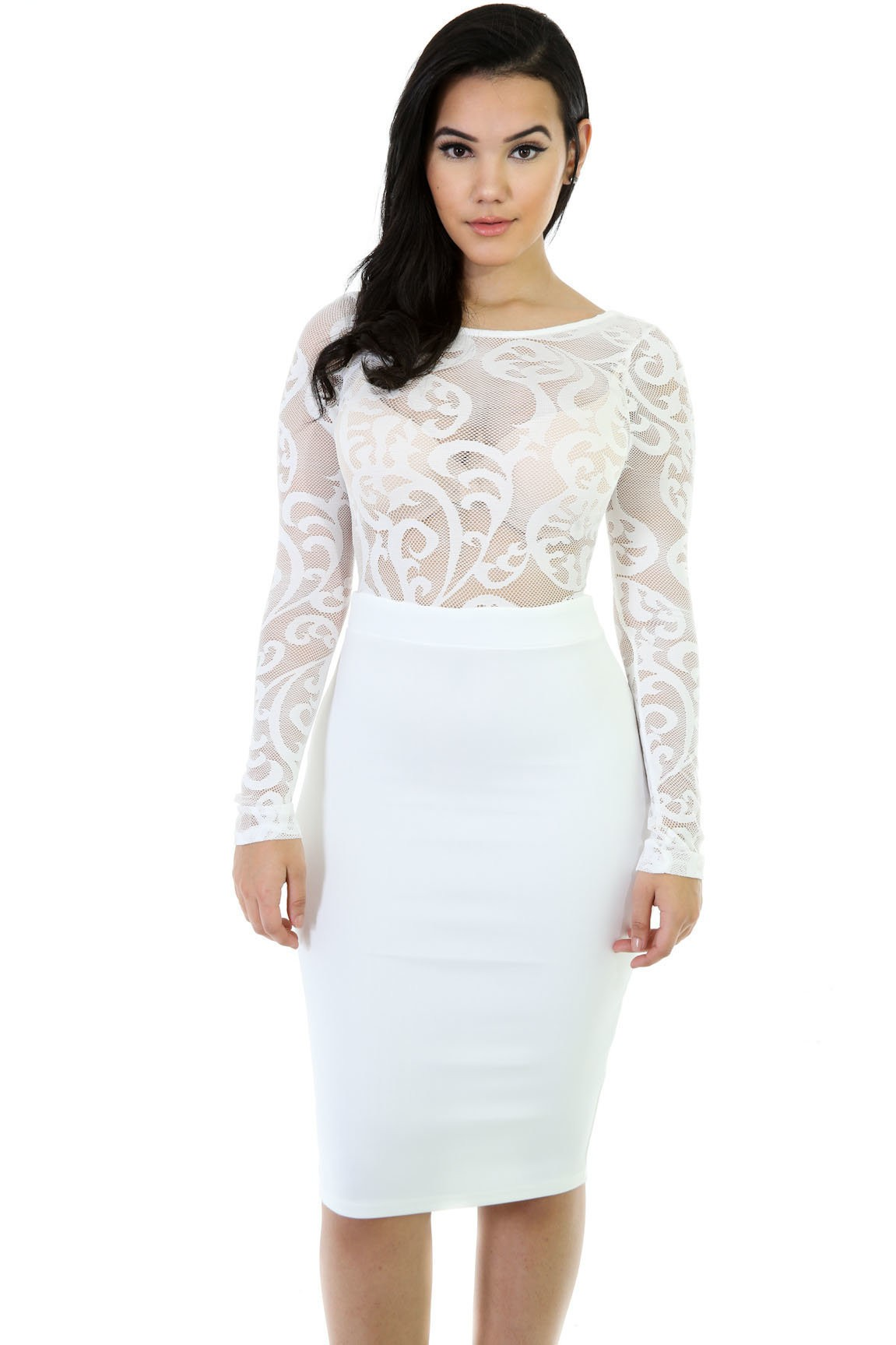 Sheer Stretchy Midi Dress