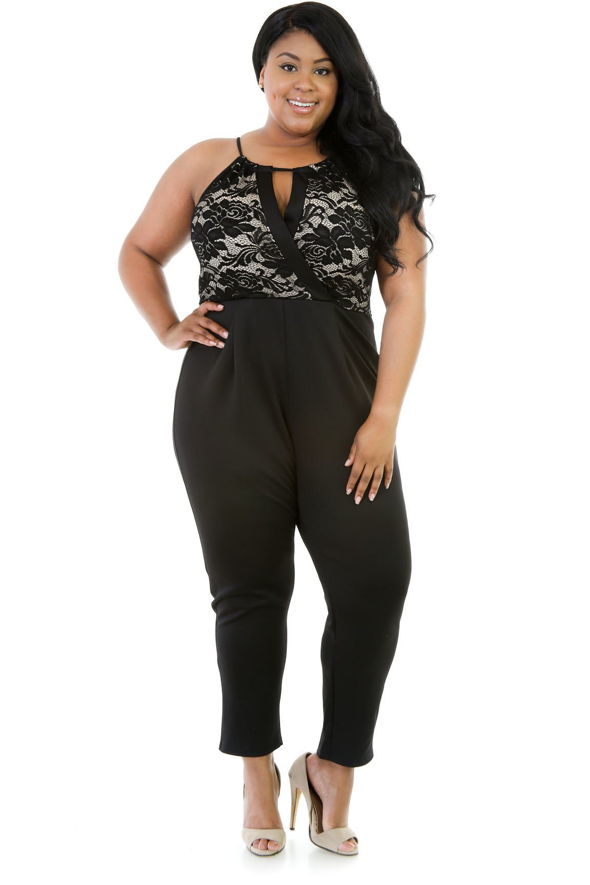 High Waisted Mesh Jumpsuit