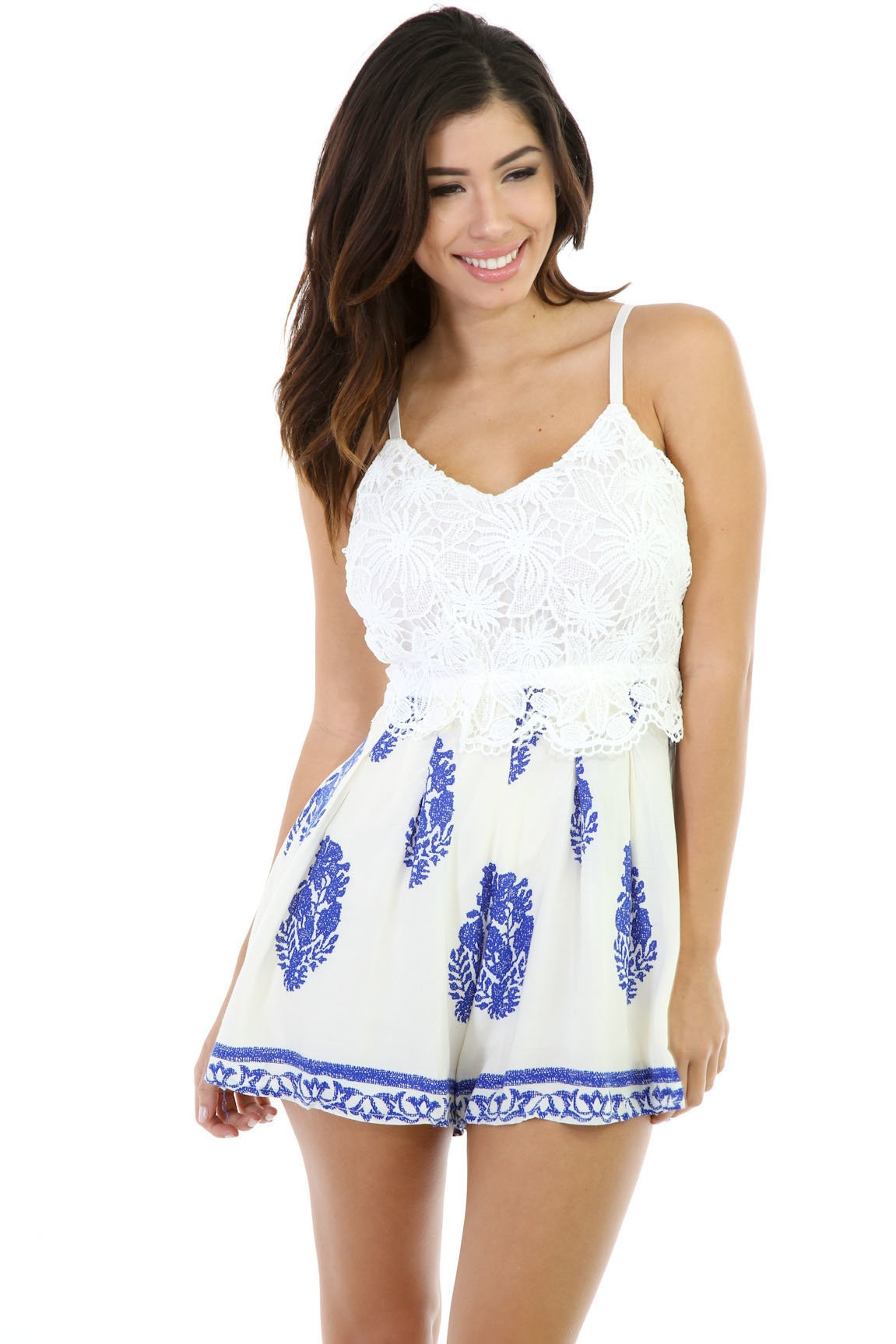 Ruffled Knit Floral Romper