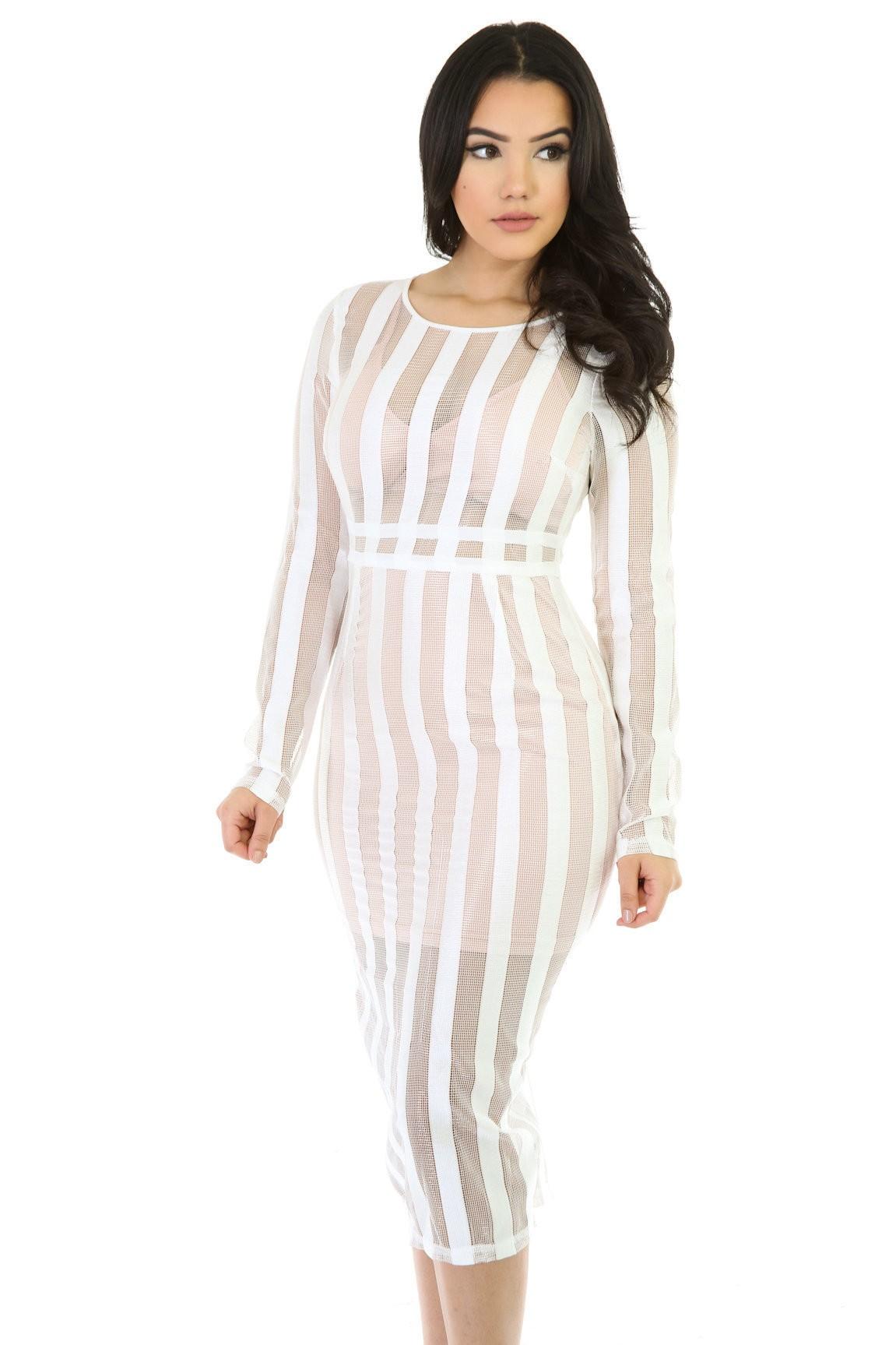 Two-Tone Mesh Midi Dress