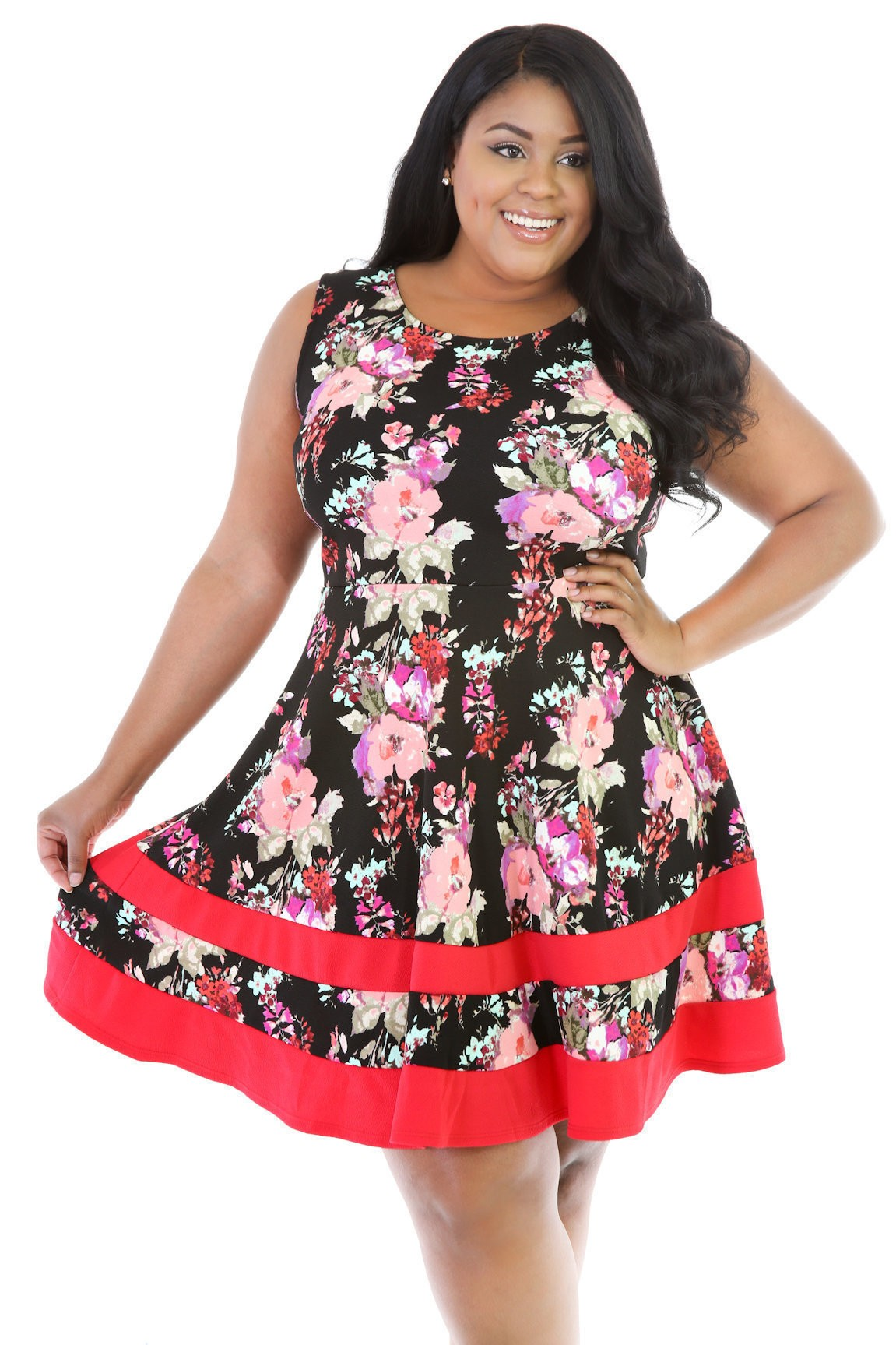 Floral Stripped Flare Mini Dress