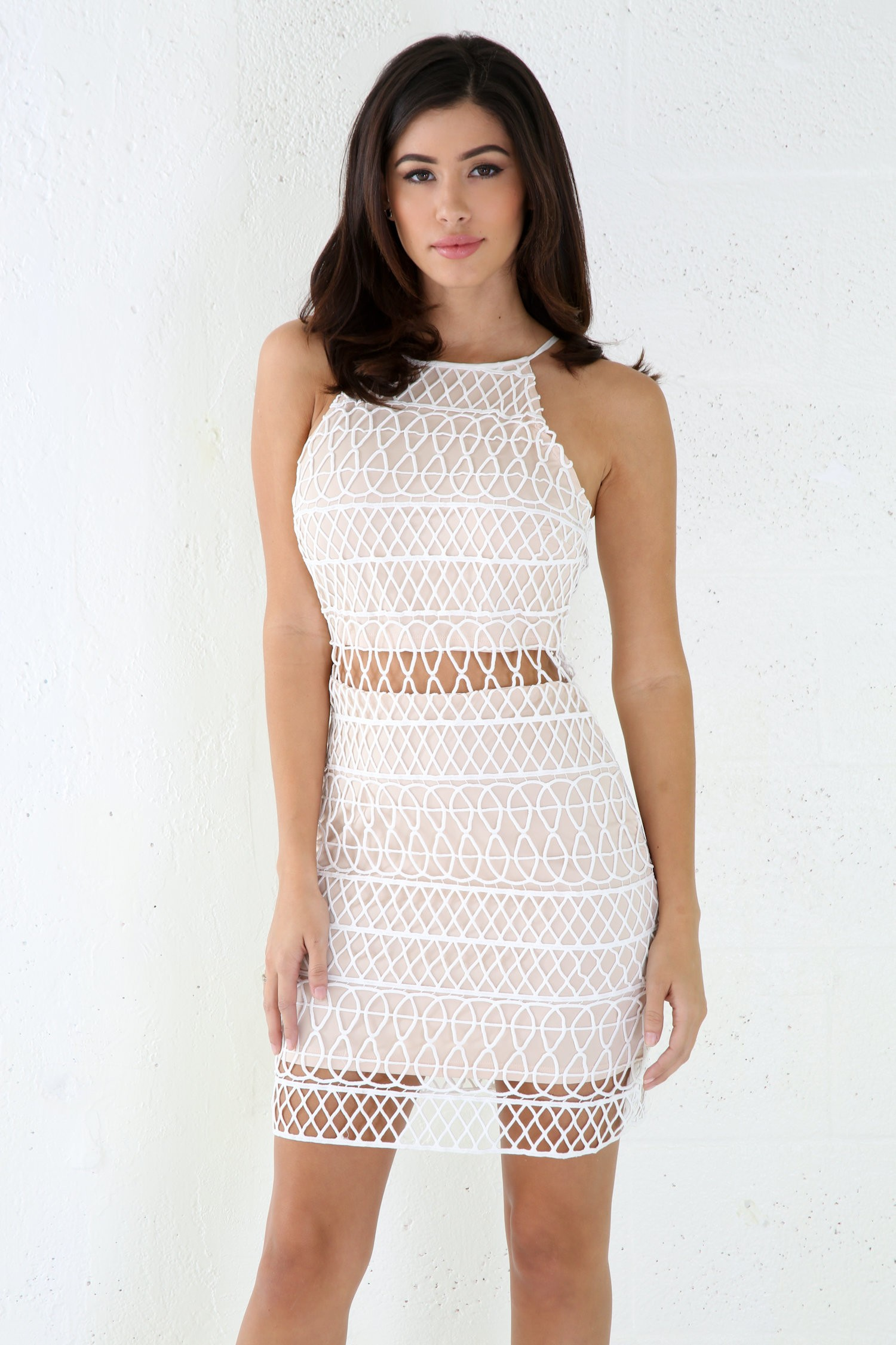 Knitting Entire Cage Mini Dress