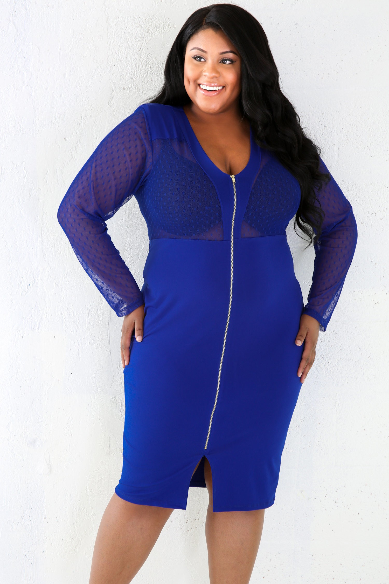 Dotty Mesh V-Cut Bocycon Dress