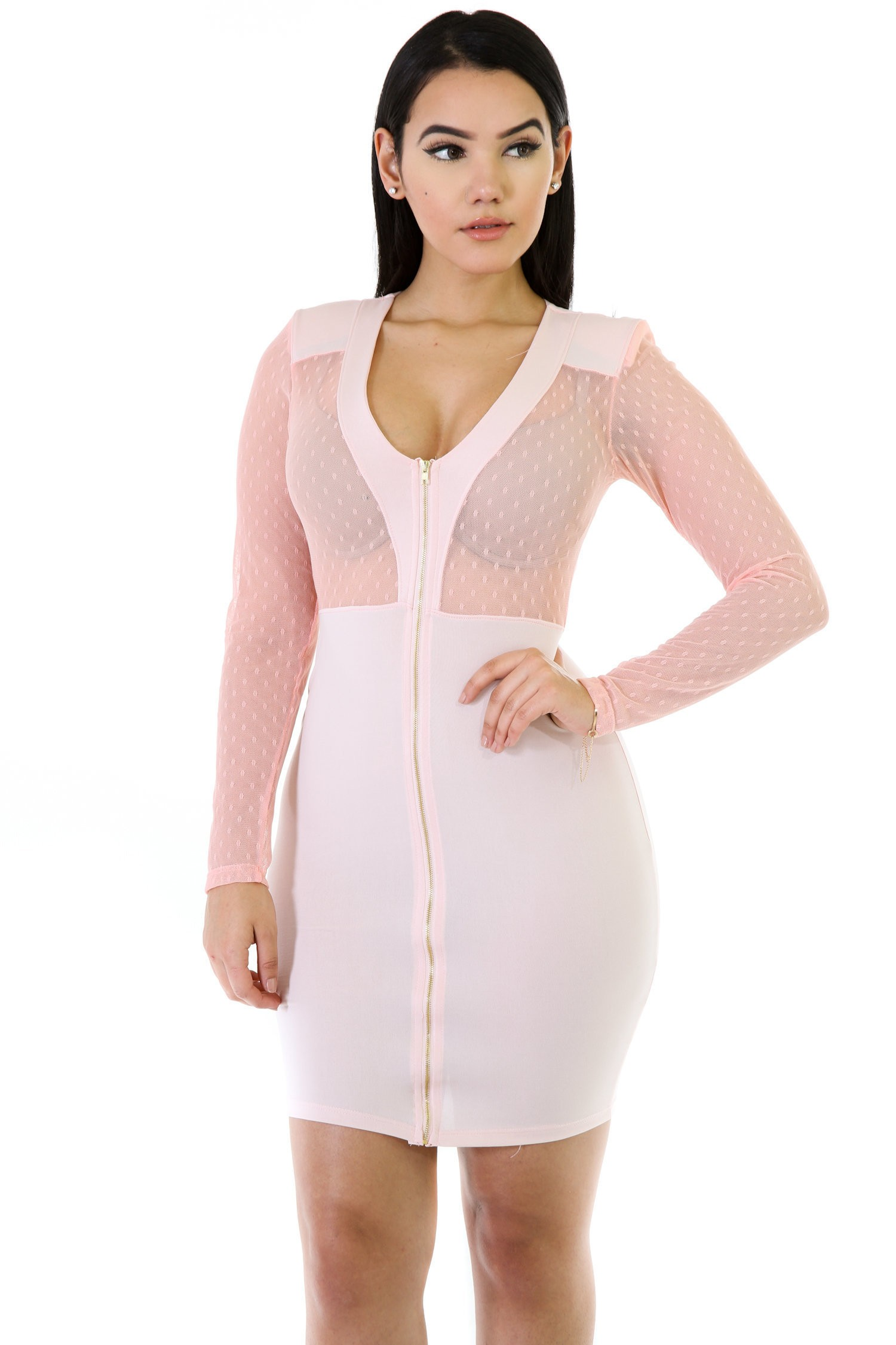 Dotty Mesh V-Cut Bocycon Dress