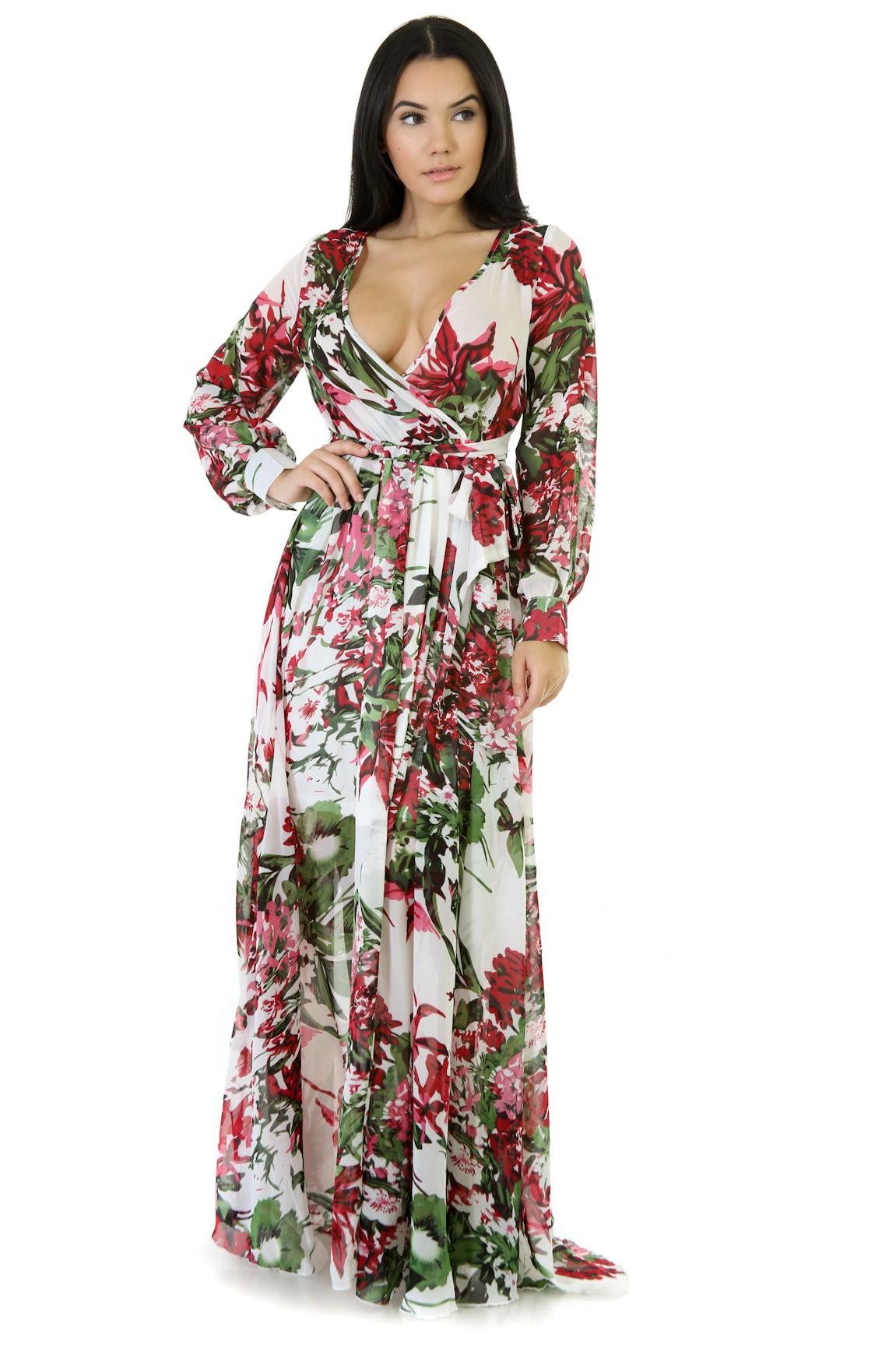 82d7df736c4d Chiffon Floral Print Maxi Dress. SKU# : GT1645211