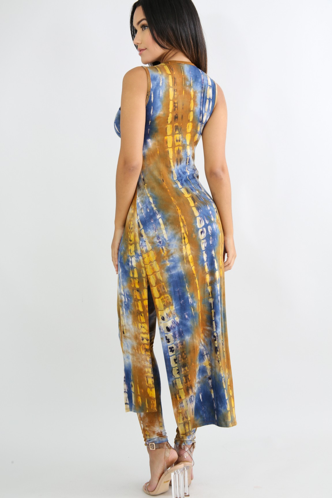 09c75a5e2528 Tie Dye Jersey Knit Maxi Top With High Rise Leggings Set