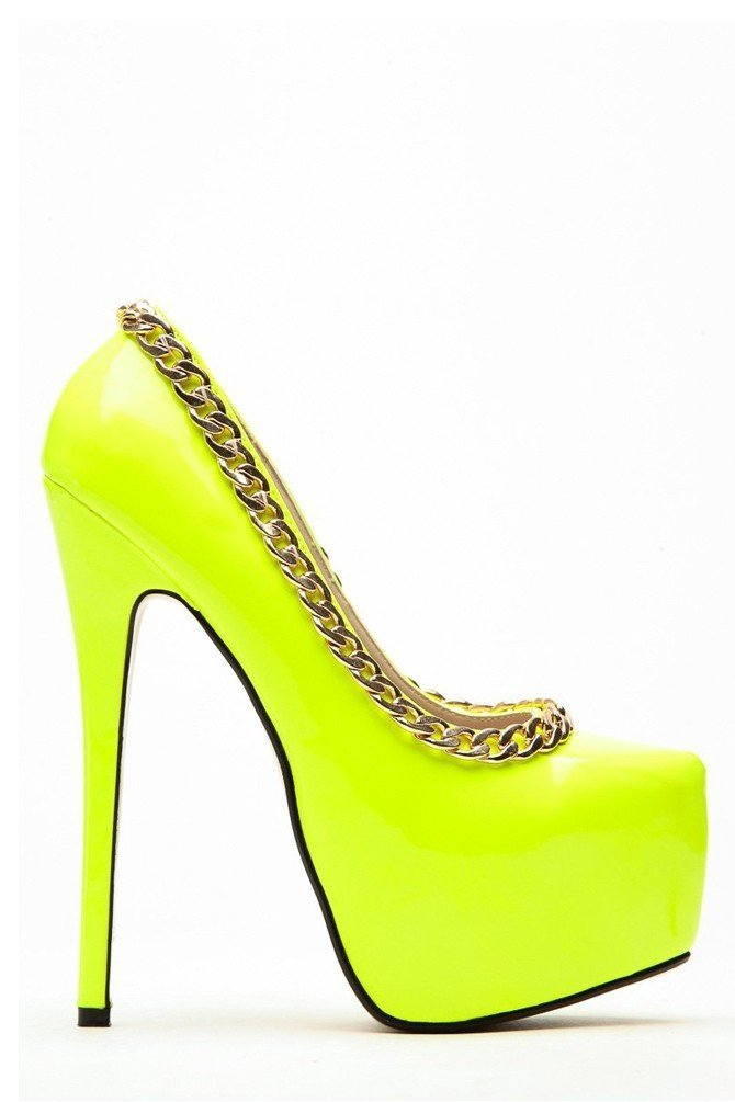 Neon Yellow Chained Up Platform Heels
