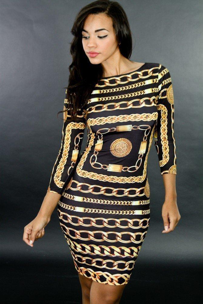 Cubic Link Bodycon Dress
