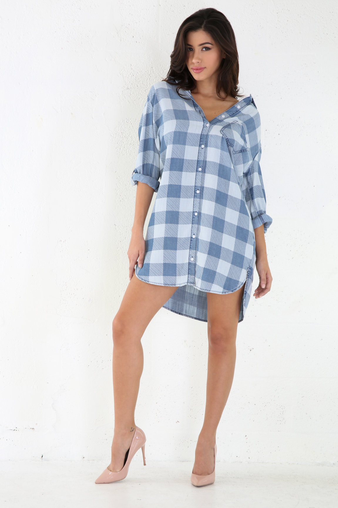 Long Sleeved Boxed Denim Short Dress