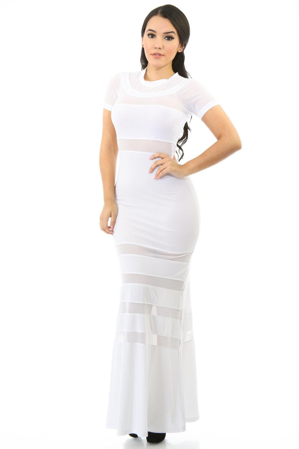 Stripe Mesh Maxi Dress