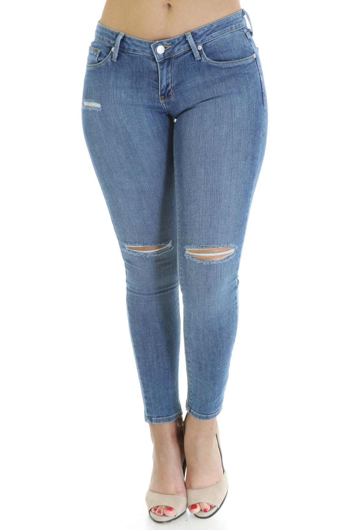 Knee Self Distress Jeans
