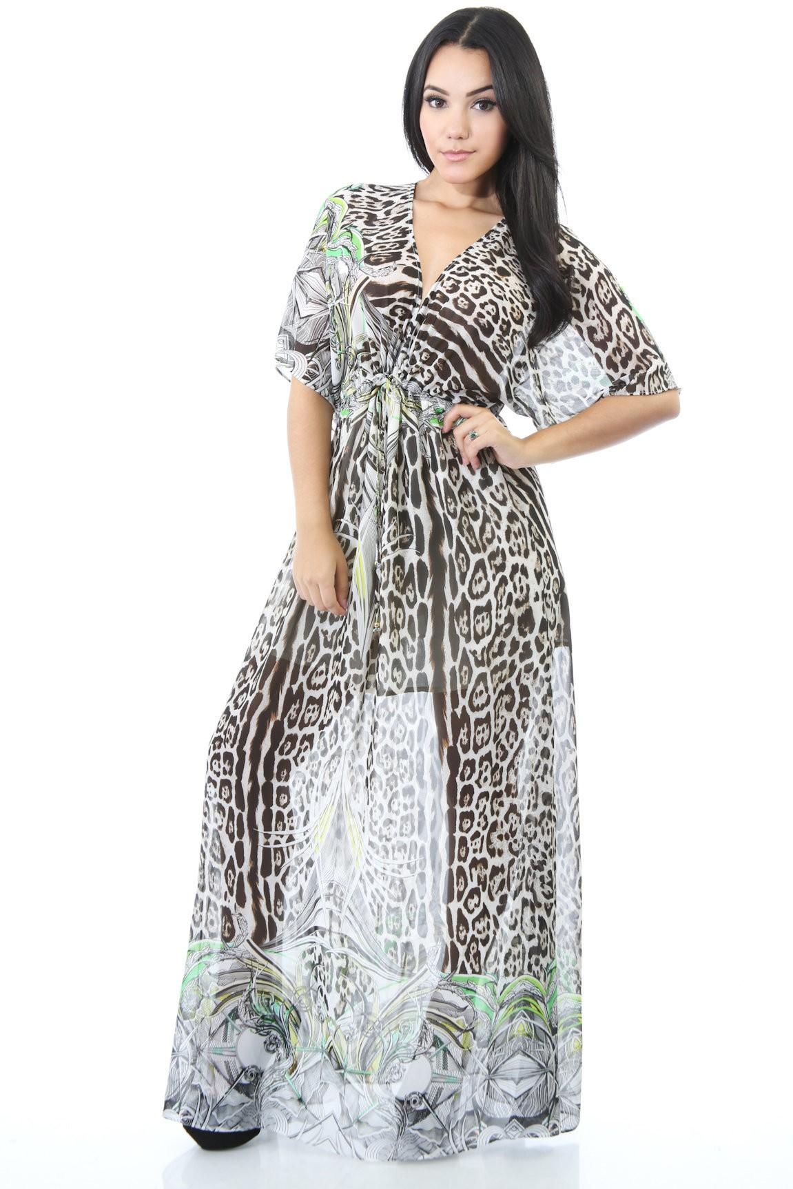 Sheer Jungle Maxi Dress