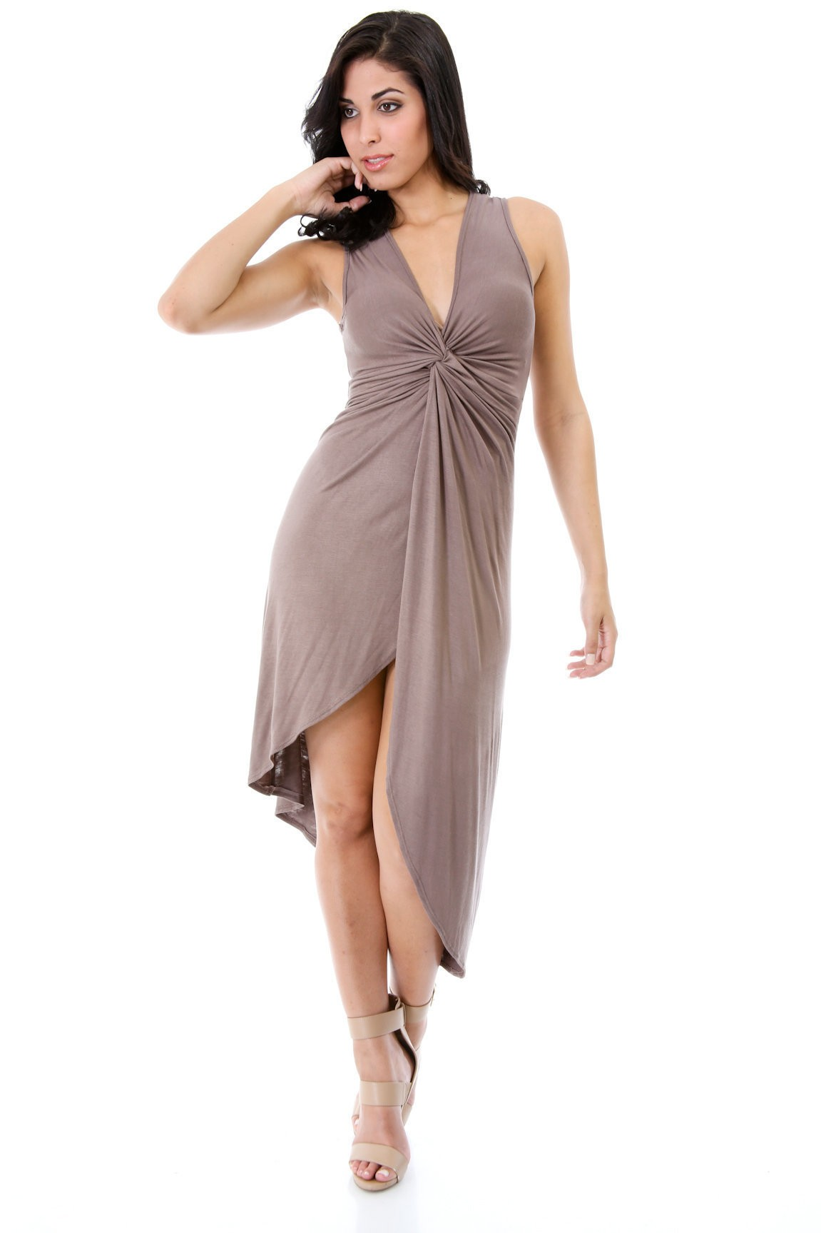 Front Knotted Bust Dress
