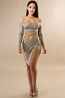 Long Sleeve Bronze Skirt Set