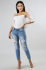Pearls Distressed Jeans