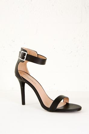 Faux Leather Single Sole Ankle Strap Heels