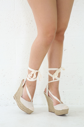Woven Espadrille Wrap Around Wedges