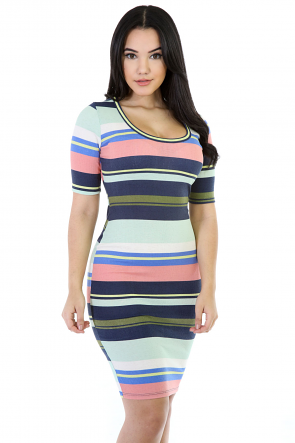 Strip It-Up Girl Midi Dress