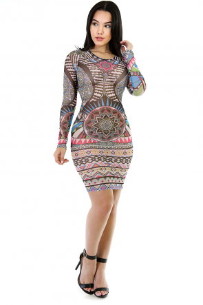 Tattoo Mesh Bodycon Dress