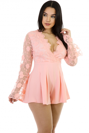 Kinnted Long-Sleeve Romper