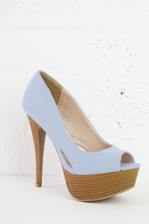 Light Blue Faux Strappy Peep Toe Wedges