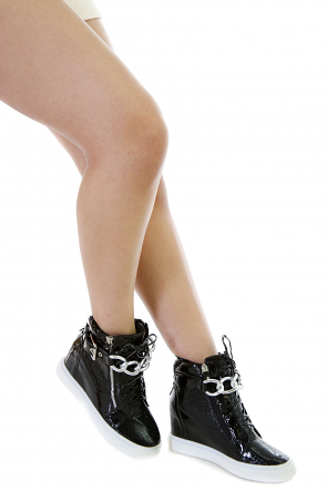 Faux Leather Chain Sneakers