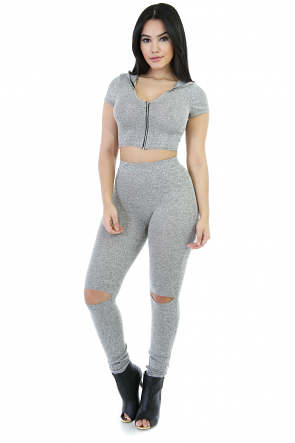Zip Up Stretchable Pant Set