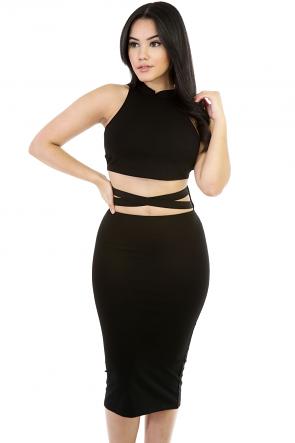 Two-Piece Midi Skirt Love Set