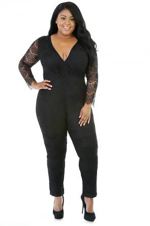 Black Long Sleeve Knit Fit Jumpsuit