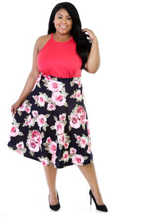 Floral Midi Stretchy Skirt