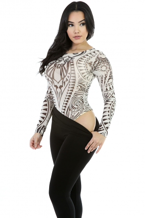 Black-n-White  Mesh Bodysuit