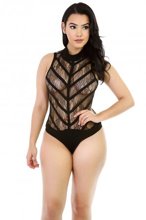 Mix Of Mesh Bodysuit
