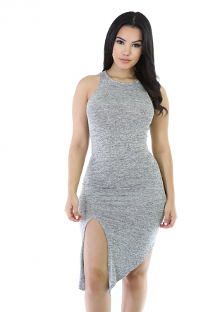 Jersey Stretch Midi Quenched Dress