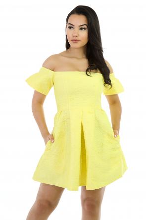 Short Sleeves Floral Print Flare Dress