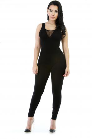 Koko Stretchy Mesh Skinny Jumpsuit