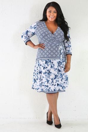 Floral Sky Blu Midi Dress