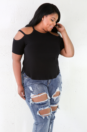 Solid Ribbed Stretchy Fit Top
