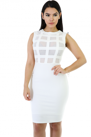 Boxed Mesh Front Bodycon Dress