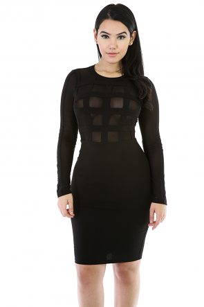 Long Sleeve Caged Mesh Dress