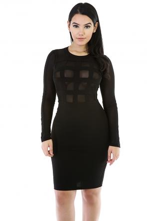Long Sleeve Caged Mesh Dress