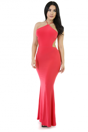 Exposed Back Stretchy Maxi Flare Dress