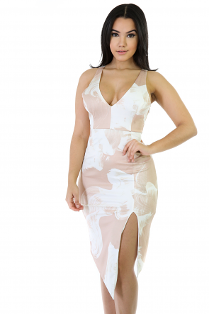 Crossed Pale Stretchy Midi Dress