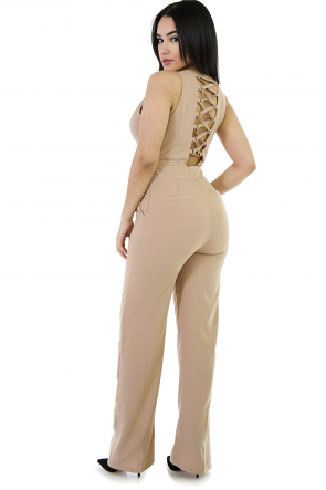Sleevless Non-Stretch Laced Jumpsuit
